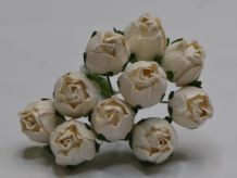 15mm WHITE HIP ROSE BUDS (L) Mulberry Paper Flowers
